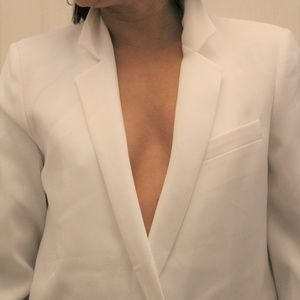 NEW $129.00 ZARA WOMAN WHITE BLAZER SUIT JACKET